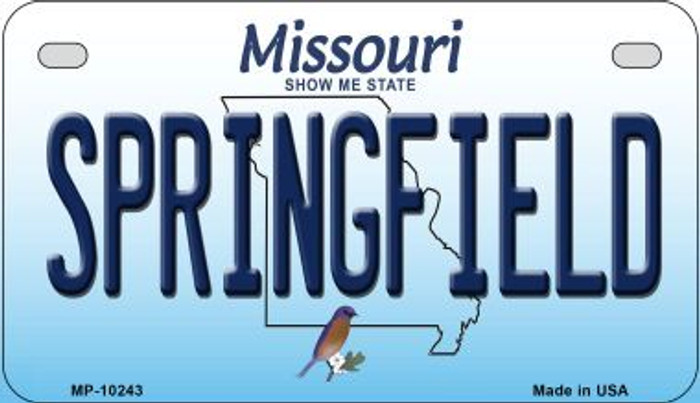 Springfield Missouri Novelty Metal Motorcycle Plate MP-10243