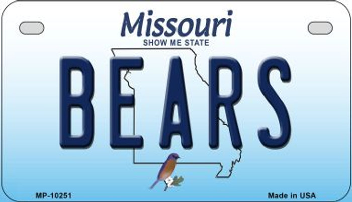 Bears Missouri Novelty Metal Motorcycle Plate MP-10251