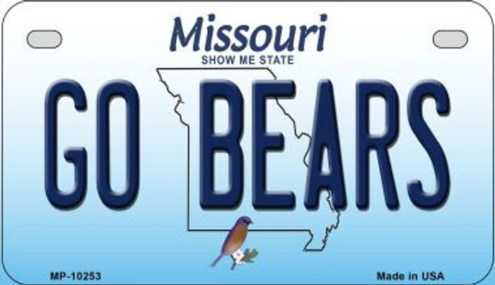 Go Bears Missouri Novelty Metal Motorcycle Plate MP-10253