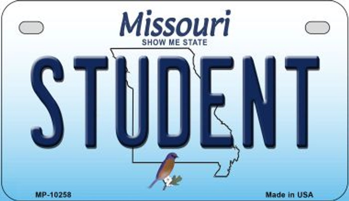 Student Missouri Novelty Metal Motorcycle Plate MP-10258
