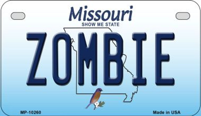 Zombie Missouri Novelty Metal Motorcycle Plate MP-10260