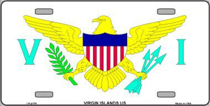 Virgin Islands US Flag Metal Novelty License Plate LP-4176
