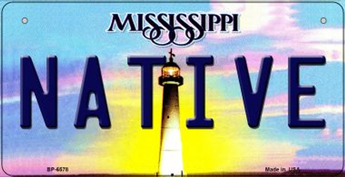 Native Mississippi Novelty Metal Bicycle Plate BP-6578