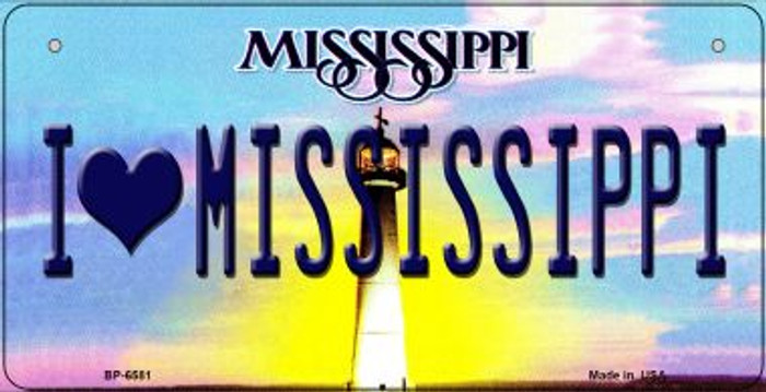 I Love Mississippi Novelty Metal Bicycle Plate BP-6581