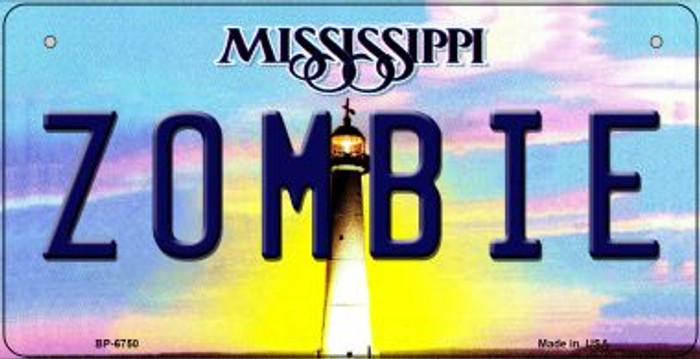Zombie Mississippi Novelty Metal Bicycle Plate BP-6750