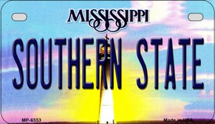 Southern State Mississippi Novelty Metal Motorcycle Plate MP-6553