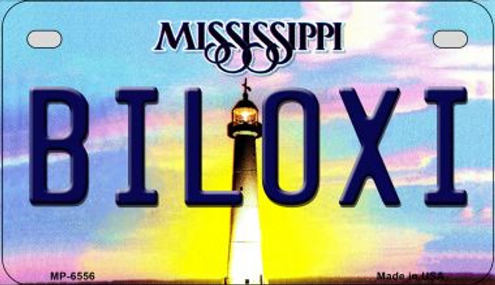 Biloxi Mississippi Novelty Metal Motorcycle Plate MP-6556