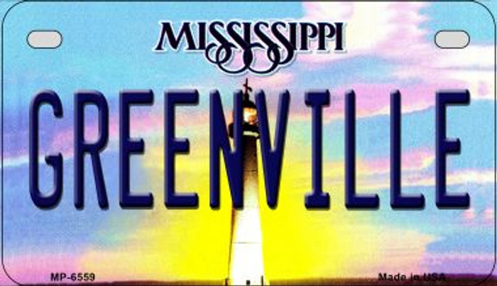 Greenville Mississippi Novelty Metal Motorcycle Plate MP-6559