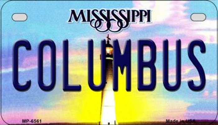 Columbus Mississippi Novelty Metal Motorcycle Plate MP-6561
