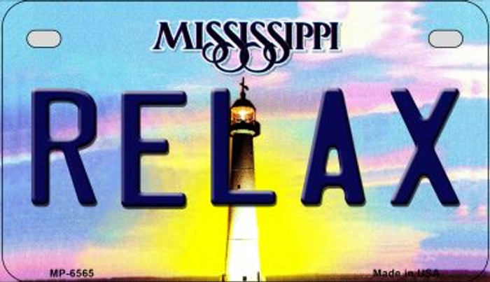 Relax Mississippi Novelty Metal Motorcycle Plate MP-6565
