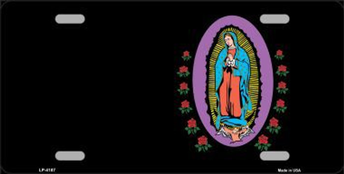 Virgin Mary Black Background Metal Novelty License Plate LP-4187