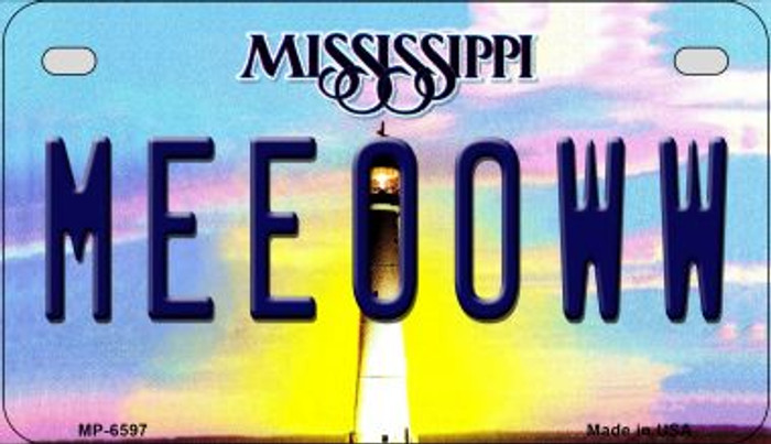 Meeooww Mississippi Novelty Metal Motorcycle Plate MP-6597