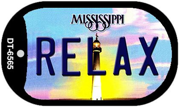 Relax Mississippi Novelty Metal Dog Tag Necklace DT-6565