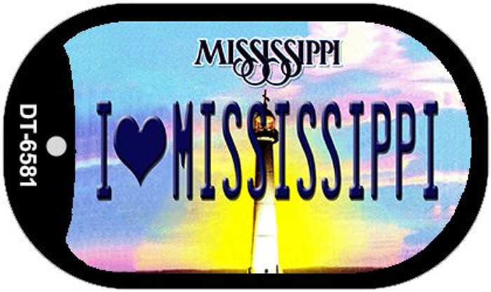 I Love Mississippi Novelty Metal Dog Tag Necklace DT-6581