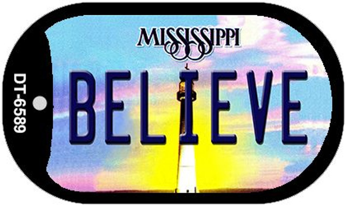 Believe Mississippi Novelty Metal Dog Tag Necklace DT-6589