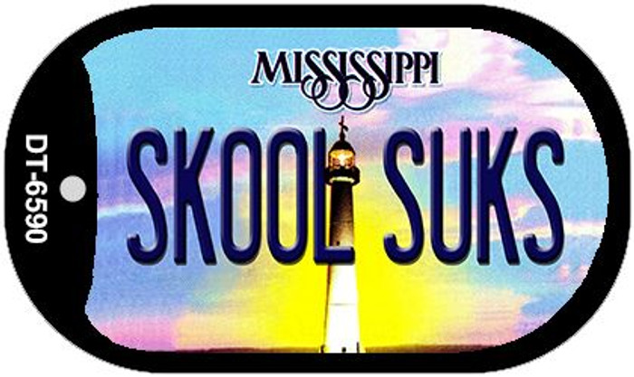 Skool Suks Mississippi Novelty Metal Dog Tag Necklace DT-6590