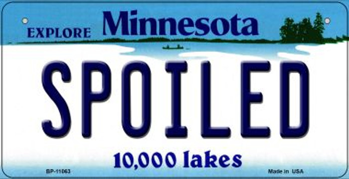 Spoiled Minnesota Novelty Metal Bicycle Plate BP-11063