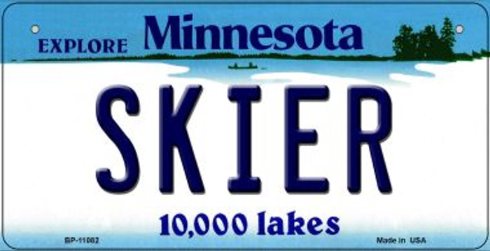 Skier Minnesota Novelty Metal Bicycle Plate BP-11082