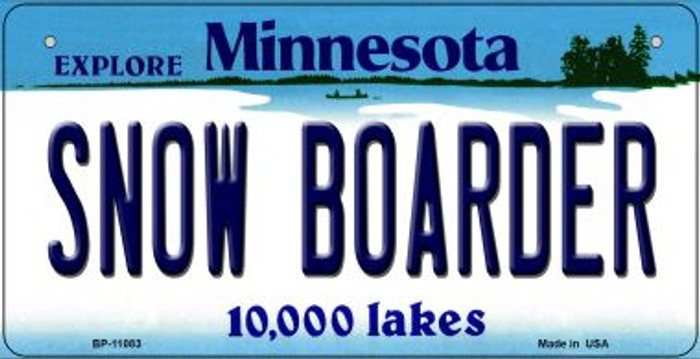 Snow Boarder Minnesota Novelty Metal Bicycle Plate BP-11083