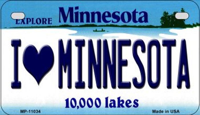 I Love Minnesota Novelty Metal Motorcycle Plate MP-11034