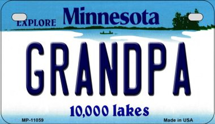 Grandpa Minnesota Novelty Metal Motorcycle Plate MP-11059