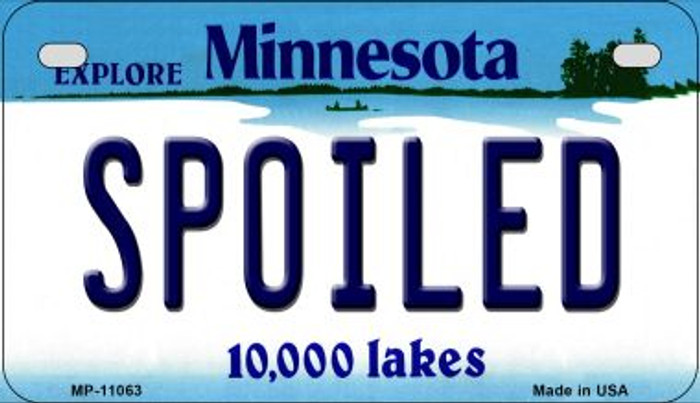 Spoiled Minnesota Novelty Metal Motorcycle Plate MP-11063