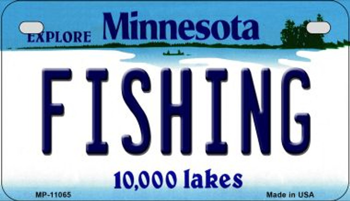 Fishing Minnesota Novelty Metal Motorcycle Plate MP-11065