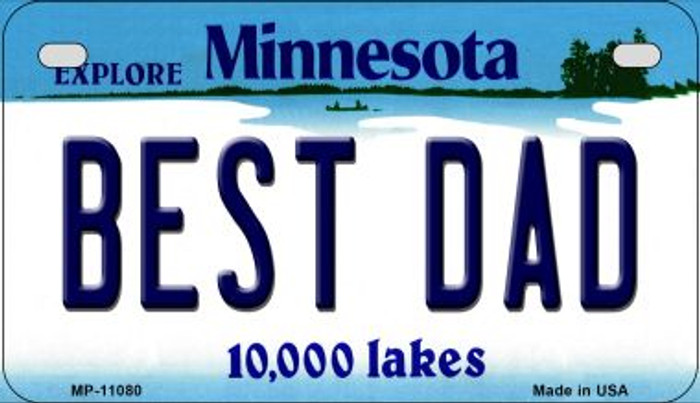 Best Dad Minnesota Novelty Metal Motorcycle Plate MP-11080