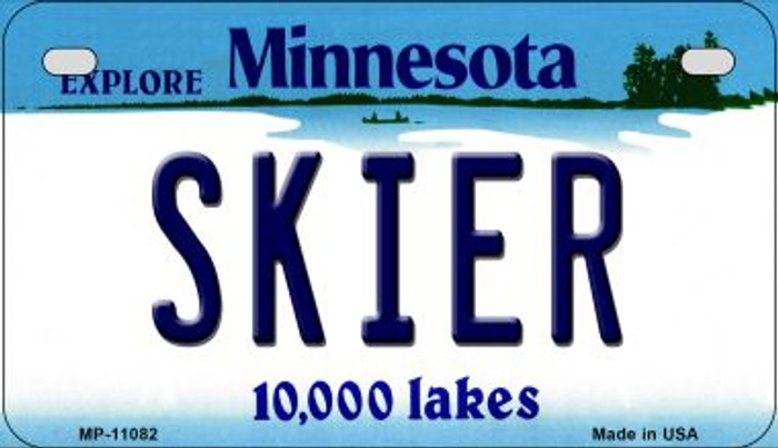 Skier Minnesota Novelty Metal Motorcycle Plate MP-11082