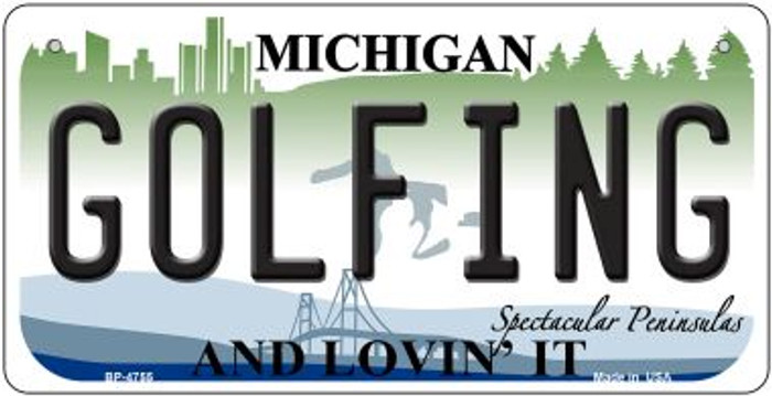 Golfing Michigan Novelty Metal Bicycle Plate BP-4755