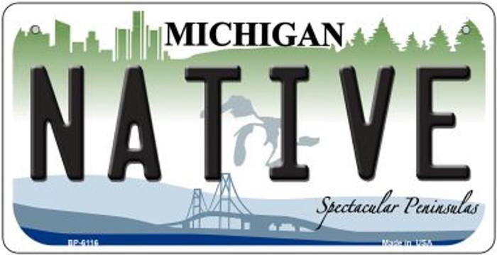 Native Michigan Novelty Metal Bicycle Plate BP-6116