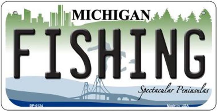 Fishing Michigan Novelty Metal Bicycle Plate BP-6124