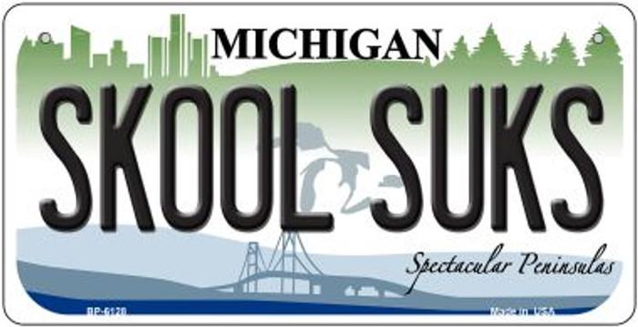 Skool Suks Michigan Novelty Metal Bicycle Plate BP-6128