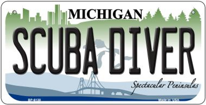 Scuba Diver Michigan Novelty Metal Bicycle Plate BP-6130