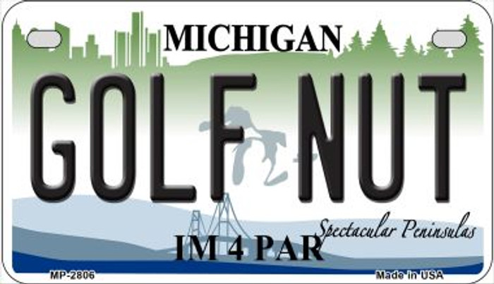 Golf Nut Michigan Novelty Metal Motorcycle Plate MP-2806