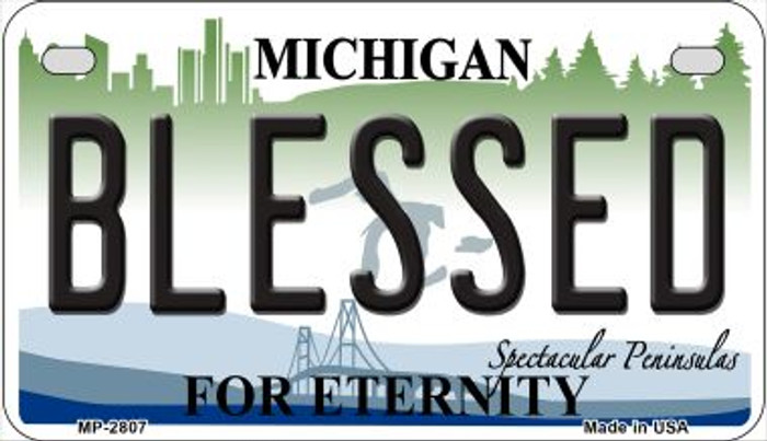 Blessed Michigan Novelty Metal Motorcycle Plate MP-2807