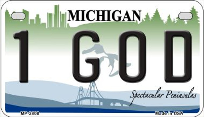 1 God Michigan Novelty Metal Motorcycle Plate MP-2808