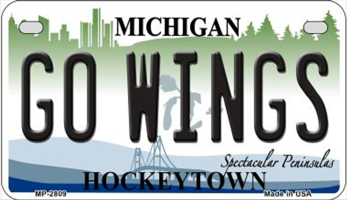 Go Wings Michigan Novelty Metal Motorcycle Plate MP-2809