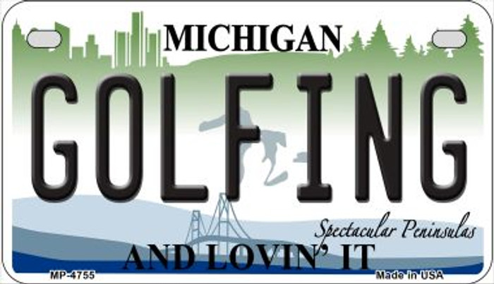 Golfing Michigan Novelty Metal Motorcycle Plate MP-4755