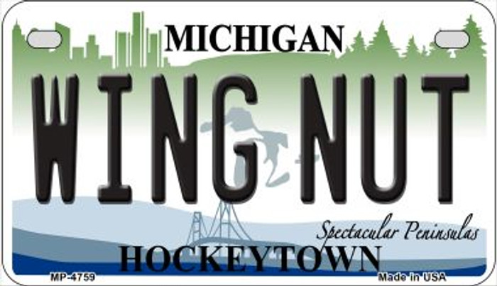 Wing Nut Michigan Novelty Metal Motorcycle Plate MP-4759