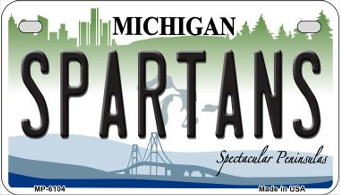 Spartans Michigan Novelty Metal Motorcycle Plate MP-6104