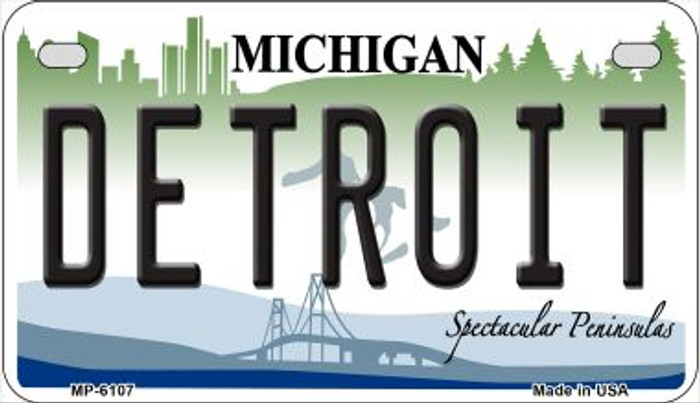 Detroit Michigan Novelty Metal Motorcycle Plate MP-6107