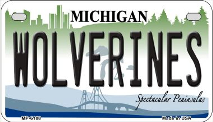 Wolverines Michigan Novelty Metal Motorcycle Plate MP-6108