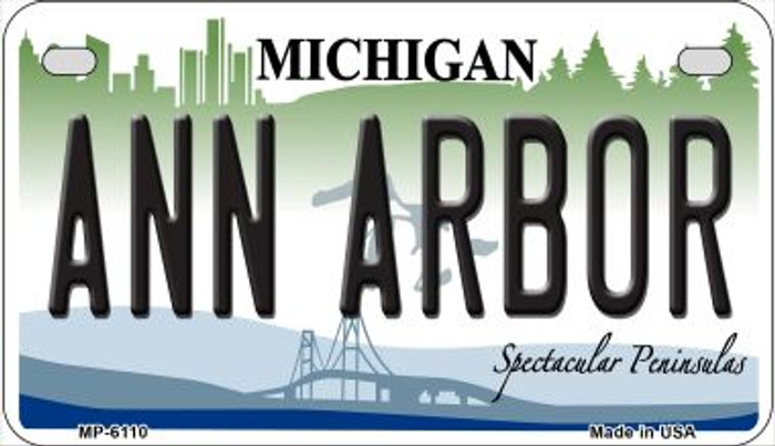 Ann Arbor Michigan Novelty Metal Motorcycle Plate MP-6110