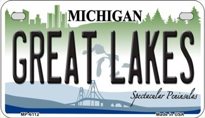 Great Lakes Michigan Novelty Metal Motorcycle Plate MP-6112