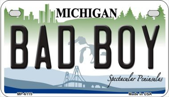 Bad Boy Michigan Novelty Metal Motorcycle Plate MP-6115