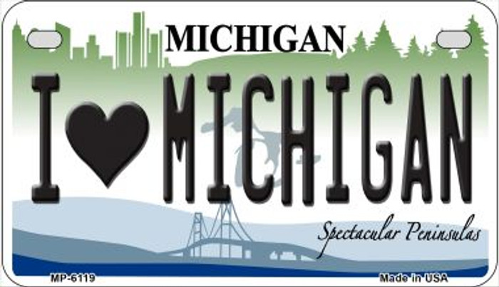 I Love Michigan Novelty Metal Motorcycle Plate MP-6119