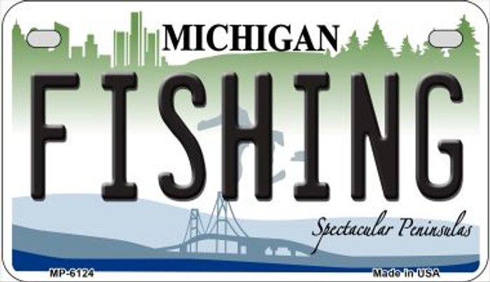 Fishing Michigan Novelty Metal Motorcycle Plate MP-6124