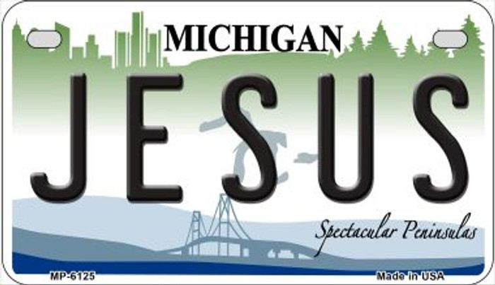 Jesus Michigan Novelty Metal Motorcycle Plate MP-6125