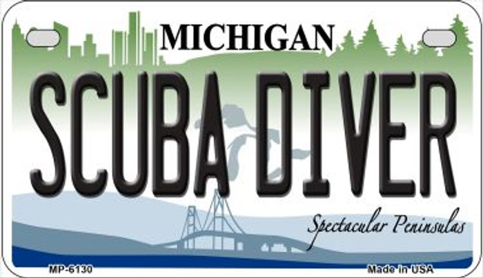 Scuba Diver Michigan Novelty Metal Motorcycle Plate MP-6130